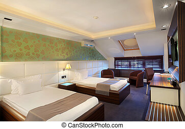 Hotel room - Interior of a hotel room for two, two beds and...
