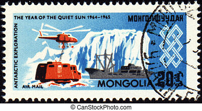 The study of the Antarctic on post stamp - MONGOLIA - CIRCA...