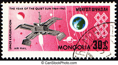 Space exploration on post stamp - MONGOLIA - CIRCA 1965:...