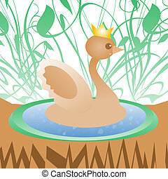 Cute duck with crown on nature greeting card