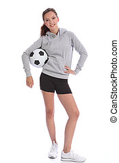 Happy soccer player teenage girl with sports ball - Tall...