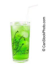 Green cocktail with herb isolated on white
