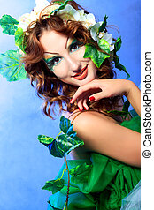 face art - Portrait of a dreamy fairy girl.