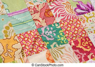 Handmade Patchwork Quilt - Detail from a handmade patchwork...