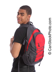 Black teenage student boy school bag on his back - Handsome...