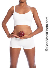 Healthy body african american woman and red apple