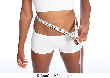 African american woman checking diet weight loss - Healthy...