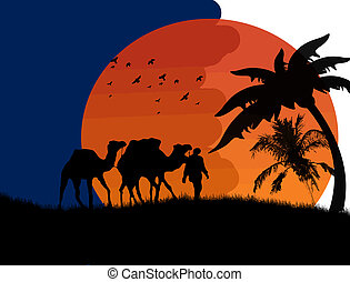 Sunset in the Sahara Desert with camels and palms, vector...