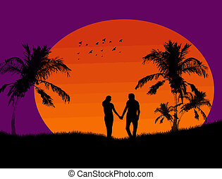Couple at tropical sunset