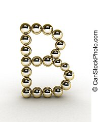 3d alphabet of gold beads.