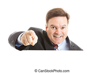 Businessman Pointing over Copyspace - Businessman pointing...