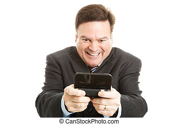Horny Businessman Texting