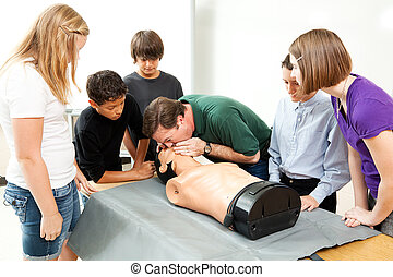Hight School Health Class - CPR - High school health class...