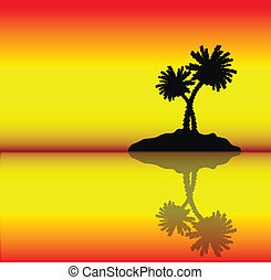 Tropical island with palms Evening Vector illustration