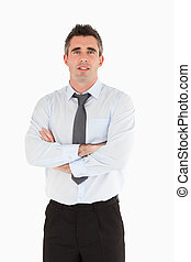 Portrait of a salesperson posing against a white background