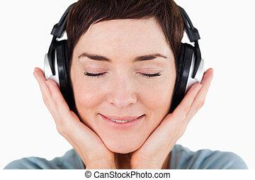 mujer, encantado, Arriba, Música, Escuchar, cierre