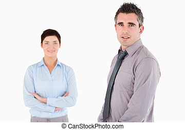 Isolated managers posing against a white background