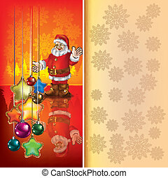 Christmas red greeting with Santa Claus
