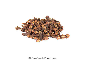 Group of cloves  on a white background.