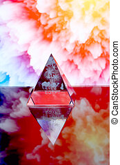 Transparent pyramid opposite abstractions.