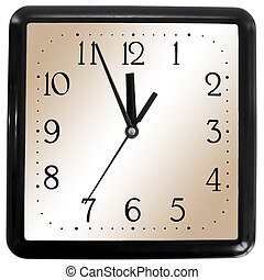 Simple square clock isolated on white background