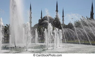 Blue Mosque Scene 2 - Blue Mosque Scene with Fountain, shoot...
