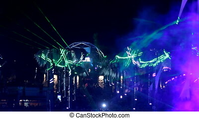 Beautiful laser show on the wall - Excellent laser show on a...