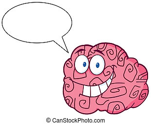 Brain Character Talking - Happy Brain Cartoon Character...