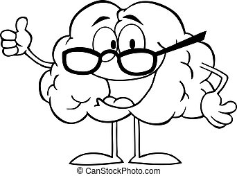 Outlined Brain Cartoon Character - Outlined Brain Character...