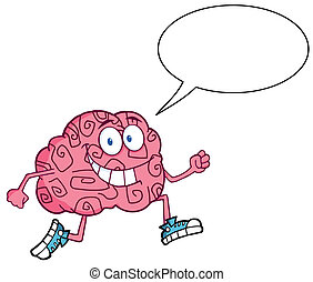 Brain Character Talking Jogging - Running Brain With Speech...