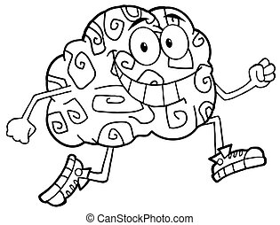 Outlined Brain Character Jogging