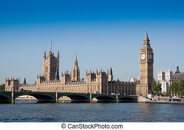 Houses of parliament overlooking River Thames and...