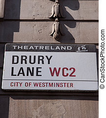 Drury lane street sign, Theatreland, Wininster , London