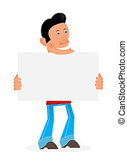 man with a placard - man on a white background holding an...