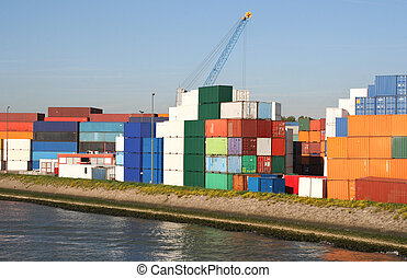 Containers in Rotterdam Port - Containers in Rotterdam...