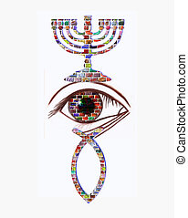 Christian and Jewish symbols - Menorah, eye and fish