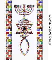 Flag of Israel - An Israeli flag with menorah, Star of...