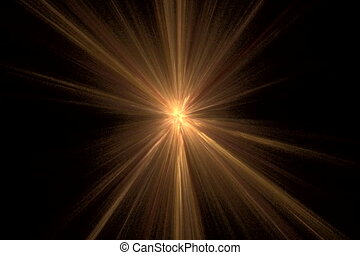 yellow star on black, seamless loop animated fractal