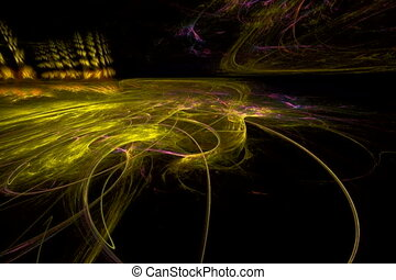 yellow spirals on black, seamless loop animated fractal