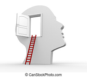 Human head with an open door - 3d render illustration