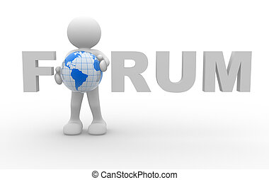 """Forum"" word - 3d people - human character and word ""Forum""..."