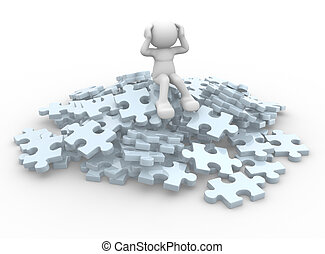 Jigsaw - 3d people - human character sits over on a pile of...