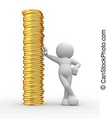 Coins - 3d people - human character and a stack of coins. 3d...