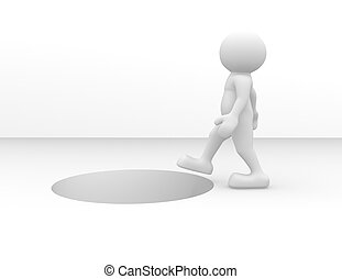 Hole - 3d people - human character going to the hole. 3d...