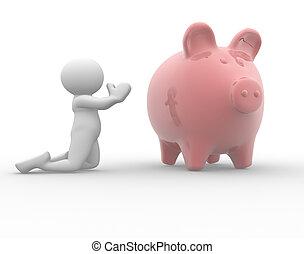 Piggy bank - 3d people-human character praying at piggy bank...