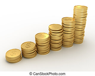 Gold penny - Financial diagram consisting of gold penny -...