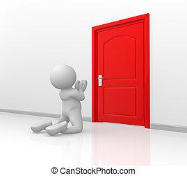 Door - 3d people - human character -in knees begging...