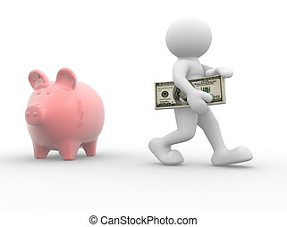 Piggy bank - 3d people - human character with piggy bank and...