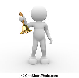 Bell - 3d people -human character with a bell in hand. 3d...