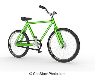 Bicycle on white background. This is a 3d render...